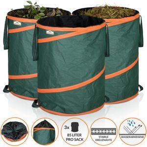 Gardebruk Gartensack Pop up 3x 85 Liter = 255 Liter | verstärkende Spiralfeder | doppelte Kreuznähte | Gartenabfallsack Laubsack
