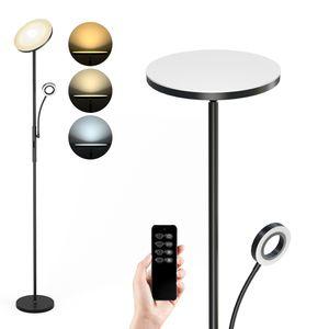 Anten Stehlampe LED Dimmbar   Schwarz Stehleuchte 30W mit flexibler 5W Leselampe   Modern Deckenfluter 2000LM mit 3 Farbtemperatur für Wohnzimmer, Schlafzimmer, Büro, Hotel