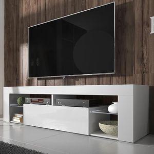 Selsey TV-Schrank BIANKO TV-Lowboard Weiß Matt/Weiß Hochglanz 140 cm