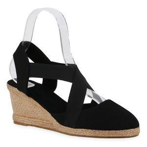 Mytrendshoe Damen Sandaletten Keilsandaletten Bast Keilabsatz Freizeit Schuhe 835999, Farbe: Schwarz, Größe: 39