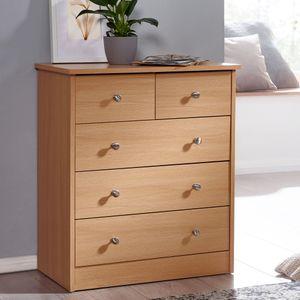 WOHNLING Design Holz-Kommode PRUE 60 x 70 x 35 cm buche mit 5 Schubladen | Mehrzweckanrichte flach für Flur | Modernes Sideboard zeitlose Anrichte