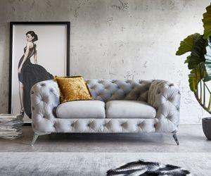 Sofa Corleone Grau  185x97 cm Samt 2-Sitzer Couch