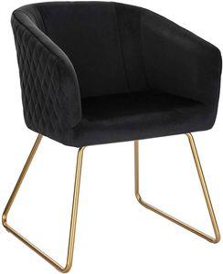 WOLTU BH271sz-1 1 Esszimmerstühle Küchenstuhl Polsterstuhl Wohnzimmerstuhl Sessel, Sitzfläche aus Samt, Metall Gold Beine, Schwarz