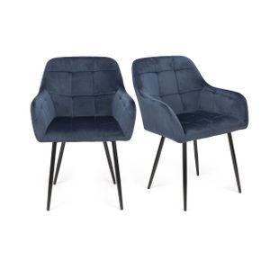 Futurefurniture.® 2er Set Esszimmerstühle,esszimmerstuhl,esszimmerstühle 2er set,stühle esszimmer,Samtstoff,-Blau