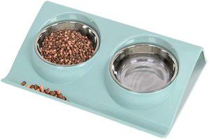 Kleine Katze und Hund, zweischichtige Futternapf, Edelstahl, orthopädische Katzenschüssel, geneigte Hundenapf, verwendet für Katzen, Welpenfutter und Wasser (blau groß)