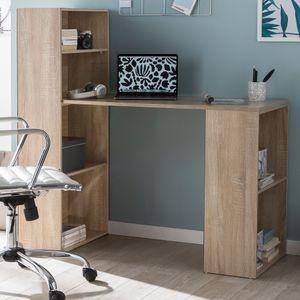 WOHNLING Schreibtisch WL5.693 mit Regal 120 x 120 x 53 cm Sonoma Holz Modern | Schreibtischregal Ablagefächer PC Tisch | Computertisch mit Ablage | Design Tisch Büro mit Aufbewahrung
