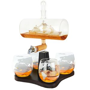 Whisiskey® Whisky Karaffe - Segelschiff - Whiskey Set - 1000ML – Inkl. 4 Whisky Steine, 4 Whisky Gläser, Zapfhahn & Ausgießer - Whisky Dekanter - Geschenke für Männer – Whiskygläser