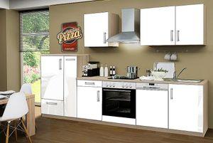 Küchenblock ohne Elektrogeräte Premium 310 cm in weiß glänzend (Geschirrspüler geeignet)