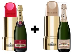 Piper Heidsieck Brut Champagner 0,75l (12% Vol) Lipstick Edition + Piper Heidsieck Champagner Nude, Demi - Sec Champagne, weiss 0,75l (12% Vol) Lipstick Edition - [Enthält Sulfite]