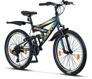 Licorne Bike Strong V Premium Mountainbike in 24 und 26 Zoll - Fahrrad für Jungen, Mädchen, Damen und Herren - Shimano 21 Gang-Schaltung - Vollfederung, Farbe: Schwarz/Blau/Lime, Zoll:26