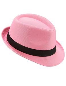 Trilby Party-Hut mit Band pink-schwarz