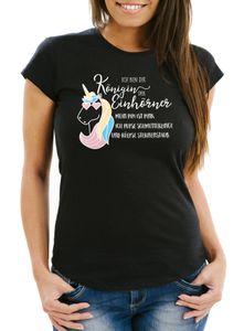 Damen T-Shirt Einhorn Spruch ich bin die Königin der Einhörner Slim Fit Moonworks® schwarz XL