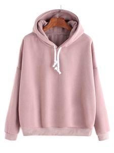 Einfarbiges lässiges Hoodie-Sportt-shirt der Frauen,Farbe: Pink,Größe:S