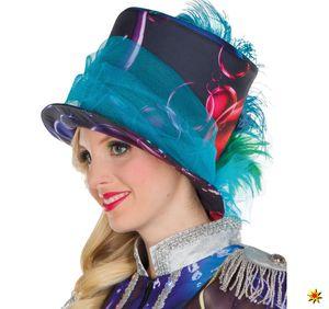 Damen Zylinder Hut Bubble Seifenblasen bunt, Kostüm-Zubehör