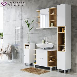 Vicco Badmöbel Set AQUIS Weiß Eiche Spiegel Waschtisch Unterschrank Badschrank