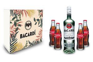 Bacardi Geschenkset - Bacardi Carta Blanca Rum 0,7l 700ml (37,5% Vol) + 4x Coca Cola 0,2L Inkl. Pfand MEHRWEG- [Enthält Sulfite]