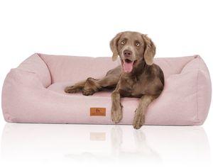 Knuffelwuff Hundebett Emma aus Velours mit feinem Handwebcharakter in Pastellfarben XXL 120 x 85cm Rosa