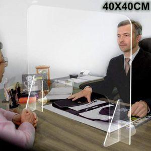 Miixia Thekenaufsatz Schutzscheibe Spuckschutz Plexiglas Schutzwand mit Durchreiche 40x40cm