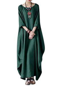 Damenkleid aus Baumwolle und Leinen mit über dem Knie langem Rock,Farbe: Dunkelgrün,Größe:3XL