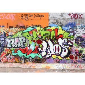 Fototapete Graffiti Stone Wall Kindertapete Tapete Kinderzimmer Graffiti Streetart Graffiti Sprayer 3D bunt | no. 32, Größe:200x280 cm, Material:TIPP | Fototapete Vlies - PREMIUM PLUS HiQ
