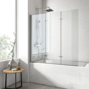 EMKE Duschabtrennung Faltwand Badewanne 130x140cm Duschwand 3 teilig faltbar Badwannenfaltwände 6mm Nano Beschichtung
