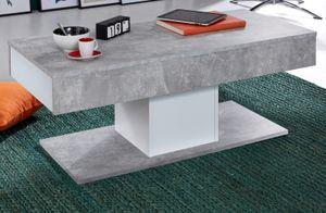 Couchtisch in weiß und grau Beton Design mit 2x Schubkasten Wohnzimmer Säulentisch 110 cm