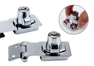 63mm x 32mm abschließbare Überfalle mit Schloss und 2x Schlüssel    Sicherheitsüberfalle inkl. 6x Schrauben   Aufschraubschloss   Möbelschloß   Schrankschloss   Vorhängeschloß   Türriegel