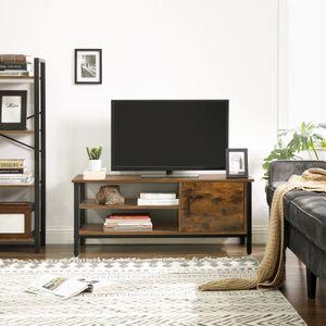 VASAGLE Lowboard mit Tür und 2 Regale |110 x 40 x 45 cm | TV-Schrank  für Fernseher bis 48 Zoll | Fernsehtisch Vintage dunkelbraun LTV42BX