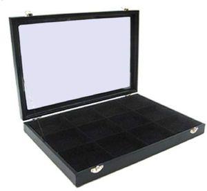 Schmuckkasten Schmucklade Schaukasten Schmuckdisplay  Glasdeckel mit 12 Fächern schwarz