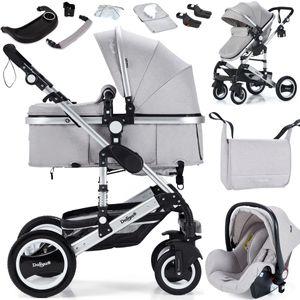 3in1 Kinderwagen Bambimo Kombikinderwagen 15-Teile Set in Elegance Grau incl. Babywanne & Buggy & Auto-Babyschale & Alu-Gestell & Gummireifen & mehr