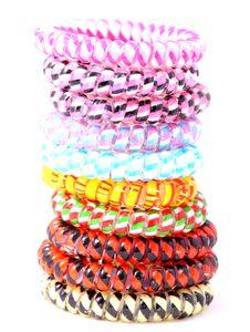 10er Set Haargummi bunt (Kunststoff-Spirale), Haarband, Telefonkabel, elastisch, Haaraccessoire Haarschmuck