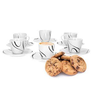 Van Well Galaxy 6er Set Espressotasse + Untertasse Espresso-Set, Liniendekor edles Marken-Porzellan