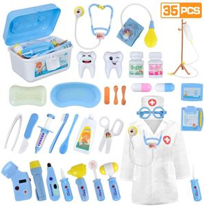 Arztkoffer Kinder 35 Teile Rollenspiele Arzt Zahnarzt Spielzeug Doktorkoffer Geschenke mit Arztkittel für Jungen Mädchen Blau