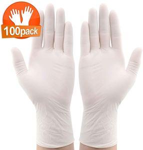 100 Stück Einweghandschuhe Latexhandschuhe in Spender-Box Wasserdicht Einmalhandschuhe Haushaltslatexhandschuhe Haltbare Schutzhandschuh(Cremefarben bis hellgelb/L-Geeignet für Handflächenbreite 10-12cm)