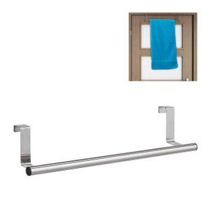 relaxdays 1x Handtuchhalter Tür Handtuchstange Türhandtuchhalter Geschirrtuchhalter silber
