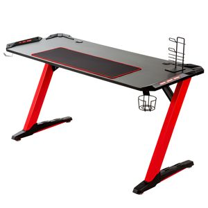 Rot 121x61cm Gamingtisch Gaming Tisch Computer Schreibtisch Computertisch Gamer Tisch Racing Z-Träger LED integriert Tisch
