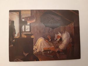 3 D Ansichtskarte Gemälde, Der arme Poet, Carl Spitzweg, Kunst Bild Postkarte Wackelkarte Hologrammkarte