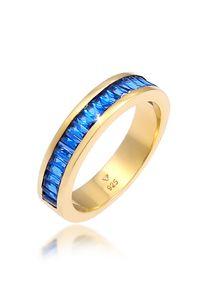 Elli PREMIUM Ring Synthetischer Saphir Rechteck 925 Silber vergoldet 58 mm Gold