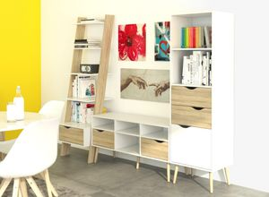Wohnwand OSLO Wohnzimmer Regalwand Anbauwand Weiß / Eiche Struktur