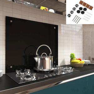 120x50 Glas Küchenrückwand Spritzschutz Schwarz Fliesenspiegel Küche Wandschutz