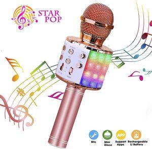 Karaoke Mikrofon, Bluetooth Mikrophon mit Aufnahme, Dynamisches Licht Drahtlose Tragbares Handmikrofon mit Lautsprecher für Erwachsene und Kinder, Kompatibel mit Android IOS PC(Roségold)