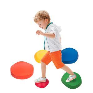 HAPPYMATY 5-teilig Flußsteine rutschfeste Hügelkuppe Balance-Set Balance Blöcke Kindersport Spielzeug für Kindergarten