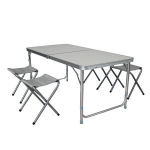 5er Alu Campingmöbel Set Outdoor Camping Tisch Tragegriff + 4 Klapphocker