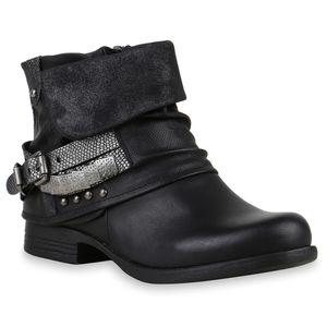 Mytrendshoe Gefütterte Damen Biker Boots Nieten Schnallen Stiefeletten 892242, Farbe: Schwarz, Größe: 37