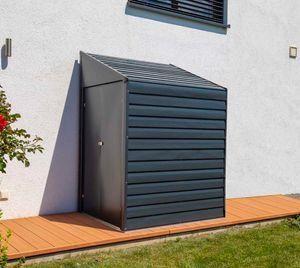 Spacemaker Metall Gerätehaus 2x1,2 m grau Anlehnhaus Fahrradgarage Gartenhaus Geräteschuppen Garten