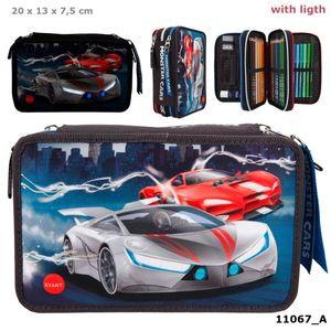 Depesche 11067 Monster Cars 3-Fach Federtasche gefüllt LED Autos Rennwagen