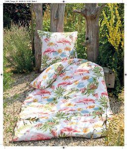 Janine Mako Soft Seersucker Bettwäsche 2 teilig Bettbezug 155 x 220 cm Kopfkissenbezug 80 x 80 cm Tango Flamingo Tropical