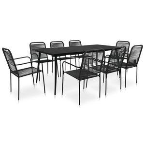 9-teiliges Outdoor-Essgarnitur Garten-Essgruppe Sitzgruppe Tisch + stuhl Baumwollseil und Stahl Schwarz