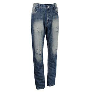 Herrenmode Skinny Ripped Hole Hose Gerade Jeans Freizeit Jeanshose L Blau