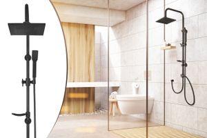 LIFA LIVING Schwarze höhenverstellbare Regendusche, verstellbares Duschsystem mit Handbrause und Kopfbrause, Duscharmatur, Duschsäule, Duscharmaturenset